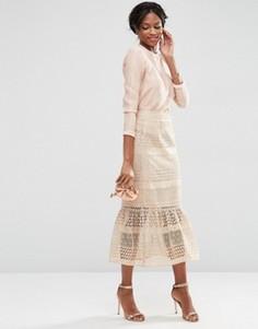 Кружевная юбка-карандаш миди с оборкой ASOS - Бежевый