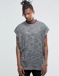 Oversize-футболка из фактурной ткани в рубчик без рукавов ASOS - Серый