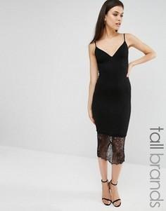 Платье миди с кружевной отделкой Missguided Tall - Черный