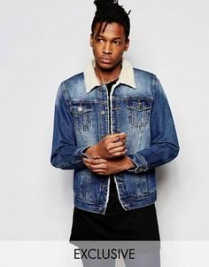 Джинсовая куртка цвета индиго с воротником борг Liquor & Poker - Синий