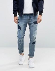 Синие рваные джинсы скинни с заплатками ASOS - Синий