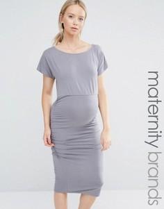 Облегающее платье со сборками и короткими рукавами Isabella Oliver - Серый