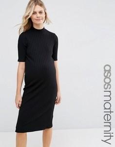 Облегающее платье миди для беременных в рубчик ASOS Maternity - Черный