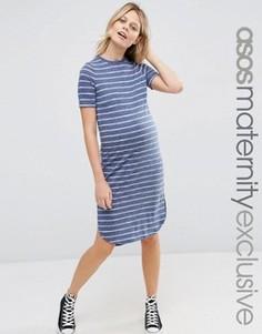 Платье-футболка для беременных в полоску ASOS Maternity - Мульти