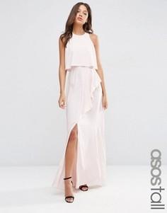 Платье макси с кроп-топом, оборкой и разрезом ASOS TALL - Розовый