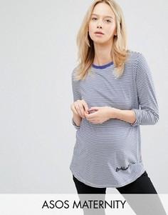 Лонгслив в полоску для беременных с вышивкой Troublemaker ASOS Maternity - Мульти