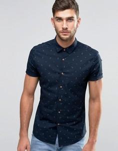 Джинсовая рубашка скинни с принтом якорей ASOS - Темно-синий