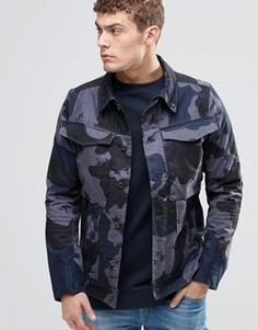 Джинсовая куртка узкого кроя с камуфляжным принтом G-Star Vodan 3D - Серый