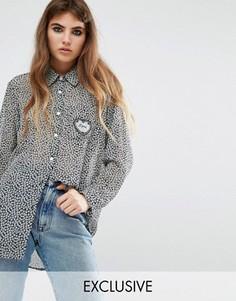 Рубашка бойфренда с принтом и сердечком на кармане Reclaimed Vintage - Синий