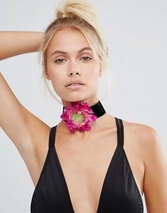 Ожерелье-чокер с цветком Rock N Rose - Черный