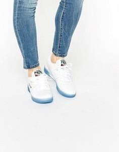 Белые кроссовки с голубой каучуковой подошвой Reebok - Белый