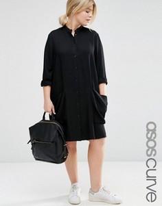 Платье-рубашка с драпированными карманами ASOS CURVE - Черный