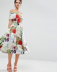 Платье миди для выпускного с открытыми плечами цветочным принтом ASOS Premium - Мульти