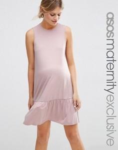 Цельнокройное платье с баской для беременных ASOS Maternity - Розовый
