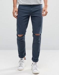 Темно-синие облегающие джинсы с рваными коленями ASOS - Синий
