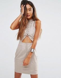 Платье с высокой горловиной и отделкой шнуровкой Young Bohemians - Серый