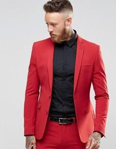 Красный пиджак суперзауженного кроя ASOS - Красный