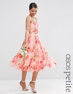 Платье миди с лифом бандо и цветочным принтом ASOS PETITE WEDDING - Мульти