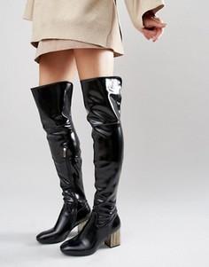Черные сапоги‑ботфорты с отделкой на каблуке Daisy Street - Черный