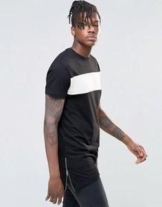 Удлиненная футболка с молнией сбоку Kubban Denim - Черный