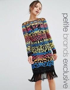 Платье мини с длинными рукавами и отделкой пайетками Maya Petite - Мульти