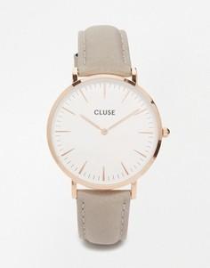 Часы с серым кожаным ремешком и корпусом под розовое золото Cluse La Boheme CL18015 - Серый
