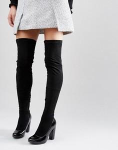 Черные высокие сапоги на каблуке Daisy Street - Черный