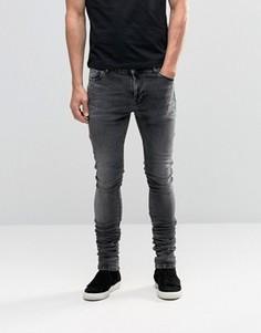 Черные мраморные удлиненные джинсы скинни со сборками ASOS - Черный