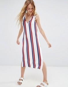 Платье-футляр миди в темно-синюю и красную полоску ASOS - Мульти