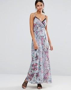 Платье макси на бретельках с вырезами и цветочным принтом Uttam Boutique - Синий