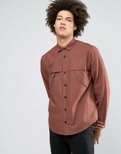 Красно-бурая рубашка в стиле милитари с длиными рукавами ASOS - Красный