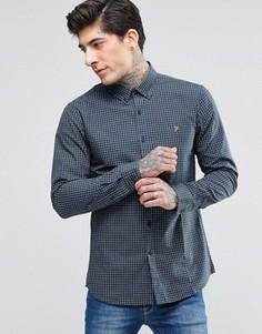 Синяя оксфордская рубашка узкого кроя в клетку Farah - Синий