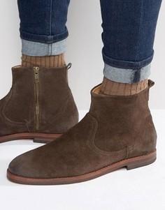 Замшевые ботинки на молнии Hudson London - Коричневый