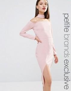 Платье-футляр с горловиной‑чокер и разрезом спереди Naanaa Petite - Фиолетовый