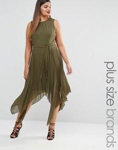 Плиссированное платье миди без рукавов Lovedrobe - Зеленый