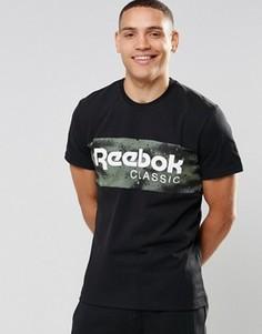 Черная камуфляжная футболка Reebok Spray AY1158 - Черный