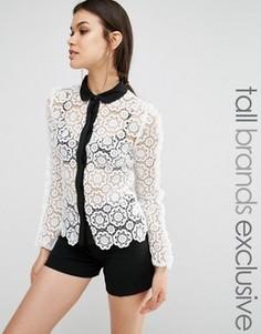 Кружевная рубашка с контрастной отделкой True Decadence Tall - Кремовый
