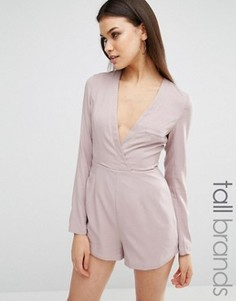 Ромпер с декольте и запахом спереди Missguided Tall - Бежевый