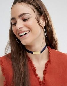 Атласное ожерелье-чокер с планкой Made - Черный