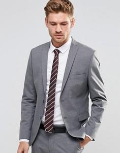 Пиджак узкого кроя из эластичной ткани Selected Homme - Серый