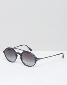 Синие матовые круглые солнцезащитные очки Giorgio Armani - Синий