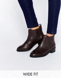 Кожаные ботинки челси для широкой стопы ASOS ABOUT TIME - Красный