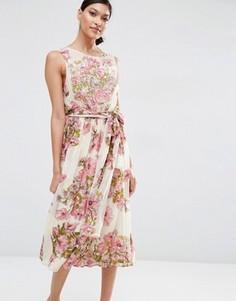 Мягкое платье миди с цветочным принтом и отделкой ASOS SALON - Мульти