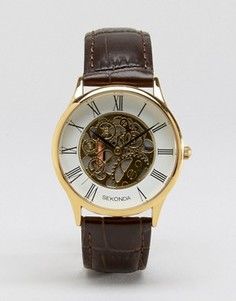 Часы с золотистым циферблатом и кожаным ремешком Sekonda эксклюзивно для ASOS - Коричневый