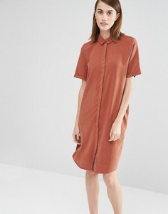 Платье-рубашка с короткими рукавами Selected Vilo - Коричневый