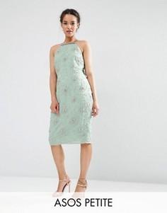 Декорированное платье миди с драпировкой сзади ASOS PETITE WEDDING - Зеленый