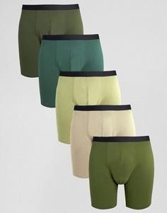 Набор из 5 удлиненных боксеров-брифов цвета хаки ASOS - СКИДКА 20 - Зеленый