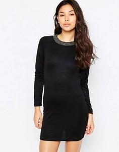 Платье с декорированной горловиной и открытой спиной Madam Rage - Черный
