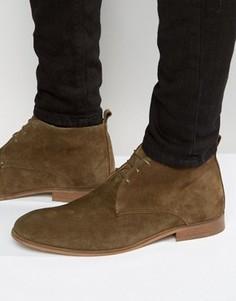 Замшевые ботинки хаки на шнуровке с натуральной подошвой ASOS - Зеленый