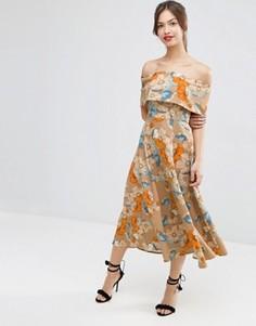 Платье миди для выпускного с открытыми плечами и цветами ASOS - Мульти